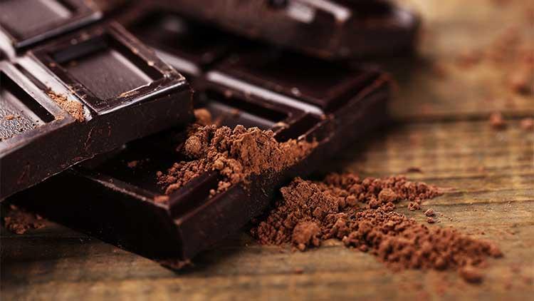 Dark chocolate with cocoa powder, closeup