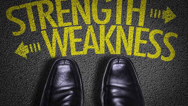 Top View of Business Shoes on the floor with the text: Strength - Weakness