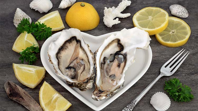 oysters on a heart shaped plate