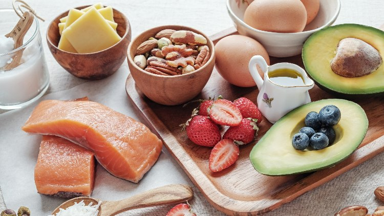 Healthy foods for keto diet on counter