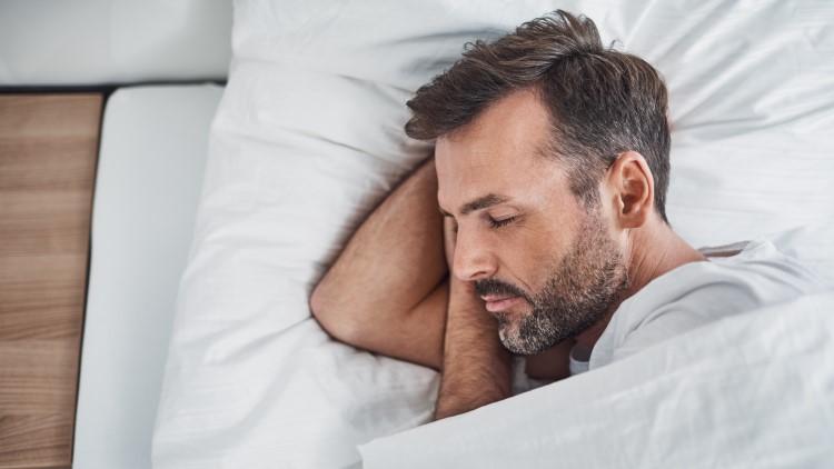 Man sleeping comfortably
