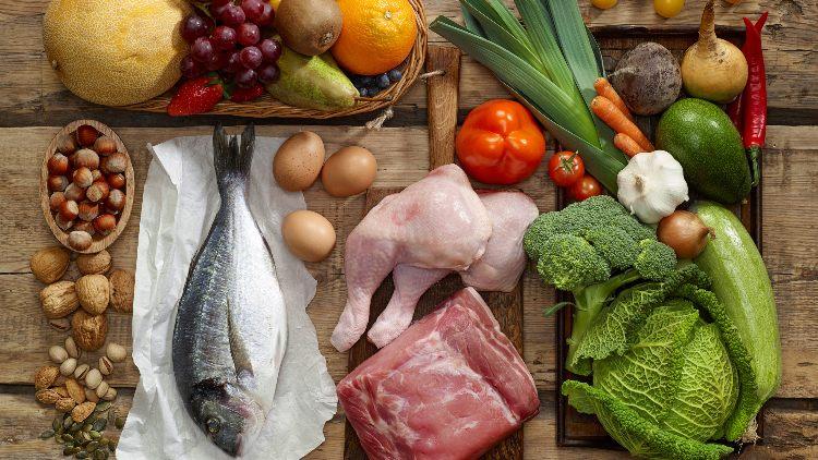 Range of foods from paleo diet