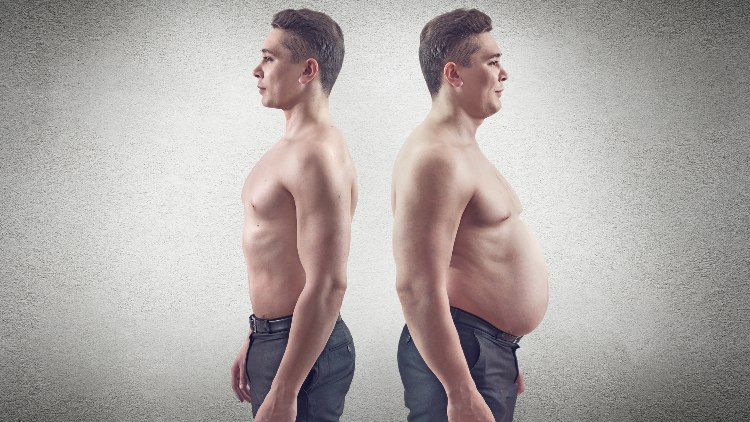 Young muscular man back to back with overweight version of himself